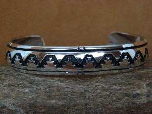 Native American Jewelry Sterling Silver Hand Cut Bracelet by Richard Singer!