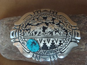 Navajo Indian Jewelry Sterling Silver Turquoise Belt Buckle by Richard Singer