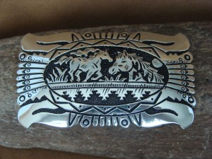 Navajo Indian Jewelry Sterling Silver Horse Belt Buckle by Richard Singer