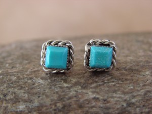 Small Native American Indian Jewelry Sterling Silver Square Turquoise Post Earrings!