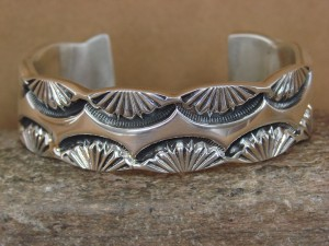 Large Native American Jewelry Hand Stamped Sterling Silver Bracelet Marc Antia