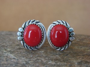 Native American Sterling Silver Coral Cuff Link Set by Delores Cadman Navajo