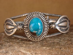Native American Jewelry Hand Stamped Turquoise Sterling Silver Bracelet!