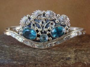 Native American Jewelry Sterling Silver Topaz Bracelet! Running Bear