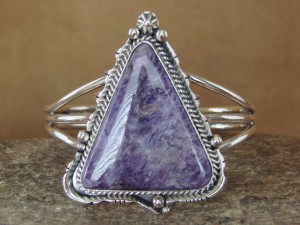 Native American Indian Jewelry Handmade Sterling Silver Charoite Bracelet