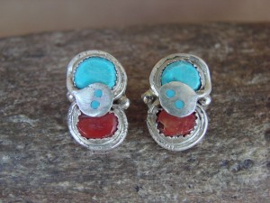Native American Sterling Silver Turquoise Coral Post Earrings by Effie Calavaza