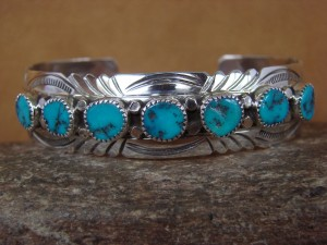 Native American Sterling Silver Turquoise Row Bracelet by Segar